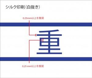 ネックストラップへのシルク印刷最低線幅抜きの場合の説明です